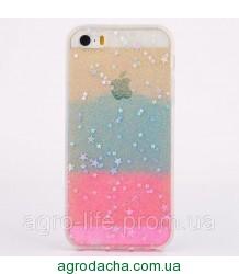Чехол накладка силикон для iPhone 5/5S Glitter Bling Stars Blue