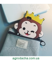 Cute 3D Crown Monkey Love Heart Eyes Soft Silicon Case Back Cover для iPhone 6/6S