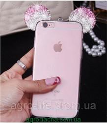 Чехол силиконовый 3D Mickey Mouse Case Pink для iPhone 6/6S