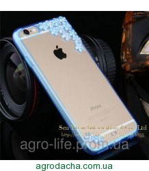 Чехол накладка для iPhone 5/5S Sakura Flowers Crystal Rhinestone Bling Blue , Винница