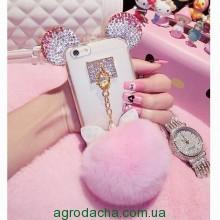 Чехол накладка силикон для iPhone 6/6S Luxury Crystal Mickey Head Bowknot Fur Bal розовый, Винница
