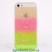 Чехол накладка силикон для iPhone 5/5S Glitter Bling Stars Pink