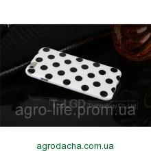 Чехол-накладка Polka Dot Silicon Soft TPU Cover Cases White-Black для iPhone 6/6s, Винница
