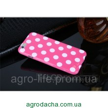 Чехол-накладка Polka Dot Silicon Soft TPU Cover Cases Dark Pink для iPhone 6/6s, Винница