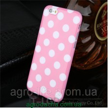 Чехол-накладка Polka Dot Silicon Soft TPU Cover Cases Pink для iPhone 6/6s, Винница