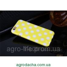 Чехол-накладка Polka Dot Silicon Soft TPU Cover Cases Yellow для iPhone 6/6s, Винница