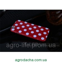 Чехол-накладка Polka Dot Silicon Soft TPU Cover Cases Red для iPhone 6/6s, Винница