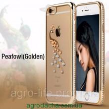 Чехол силиконовый Electroplating Diamond для iPhone 5/5s Peacock Gold