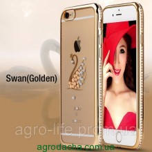 Чехол силиконовый Electroplating Diamond для iPhone 5/5s Swan Gold