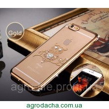 Чехол силиконовый Electroplating Diamond для iPhone 5/5s Owl Gold