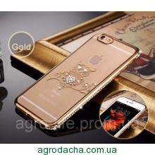Чехол силиконовый Electroplating Diamond для iPhone 5/5s Owl Gold