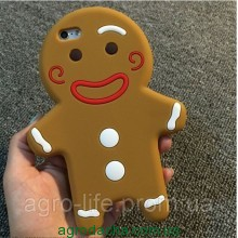 3D Cartoon Gingerbread Man Cookie Biscuit Soft Silicone для iPhone 5/5S