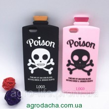 3D Terrorist Scull Cover Chill Pills Poison Soft Silicon Case Pink для iPhone 6/6S Plus