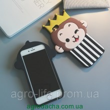 Cute 3D Dot Monkey Love Heart Eyes Soft Silicon Case Back Cover для iPhone 5/5S