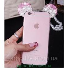Чехол силиконовый 3D Mickey Mouse Case Pink для iPhone 6/6S Plus