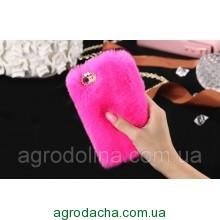 100% Genuine Rabbit Fur Whith Glitter Diamond Cover Case Hot Pink для iPhone 6/6S Plus