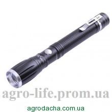 Удлинённый фонарь bl-5552, металлический корпус, питание от 2-х батареек, оптический зум, 1 диод lm, 166*23 мм