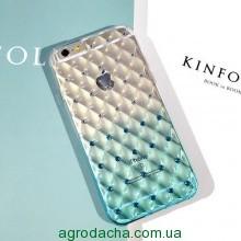 Чехол-накладка мягкий силиконовый, голубой сота градиент с камушками для iphone 6 6s