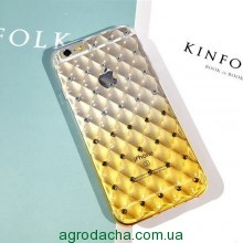 Чехол-накладка мягкий силиконовый, желтый сота градиент с камушками для iphone 6 6s
