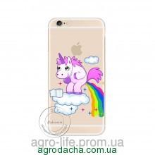 Cute Hippo Rainbow Unicorn Horse Clear Plastic Case Back Cover для iPhone 6/6S