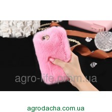 100% Genuine Rabbit Fur Whith Glitter Diamond Cover Case Pink для iPhone 5/5s