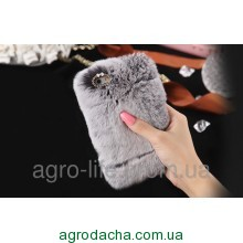 100% Genuine Rabbit Fur Whith Glitter Diamond Cover Case Grey для iPhone 5/5s