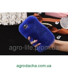 100% Genuine Rabbit Fur Whith Glitter Diamond Cover Case Blue для iPhone 5/5s