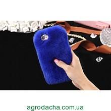 100% Genuine Rabbit Fur Whith Glitter Diamond Cover Case Blue для iPhone 6/6S Plus
