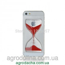 Liquid Crystal Clear Sand Clock Cover Case Red для iPhone 5/5s