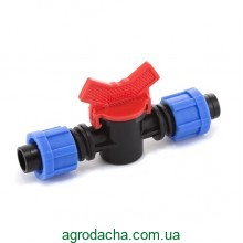 Кран шаровый проходной Presto-PS для капельной ленты 16 мм (LV-0117)